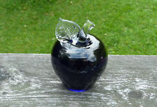 Vintage Deep Purple Art Glass  Apple Paper Weight Signed
