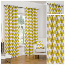 Chevron Ochre Ring Top / Eyelet Fully Lined Readymade Curtain Pair 90x90in 228x2
