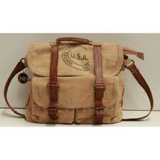 Canvas and Leather Unisex USA Satchel Bag