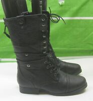 new ladies Black 1.5  Block Heel Lace Up Combat Sexy Mid-Calf Boots Size  9