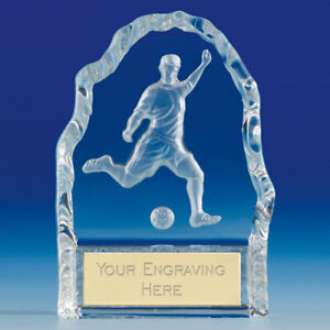 CRYSTAL GLASS Football Trophy 10.5cm FREE Engraving up to 45 Letters KK096