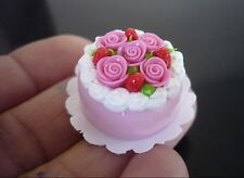 Pink Round Cake Rose Top Dollhouse Miniatures Food Bakery Valentine Day -12