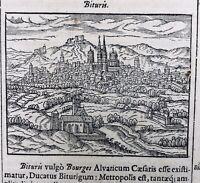 Bourges en 1695 Cher Berry Rarissime Gravure Sur bois ancienne
