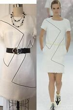 New Chanel White N Black $4690 12P White Fantasy Tweed w Shimmer SUIT DRESS S42