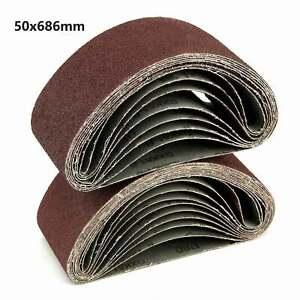 10X Sanding Belts 50x686mm Mixed 60/120/150/240 Grit Sander File Long Lasting