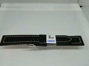 20mm Premium Quality Black Leather Watch Strap,Contrasting White Stitching,S/S