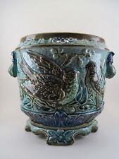 """Ancien Cache Pot Faïence Barbotine """" Aux Oiseaux """" Faïence de WASMUEL Fin XIX e"""