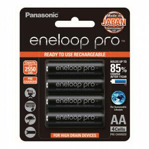 Panasonic Eneloop Pro AA 4 x NiMH Rechargeable Batteries BLACK - Made in JAPAN