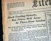 STOCK MARKET CRASH Wall Street Woes Great Depression Starts 1929 Old Newspaper