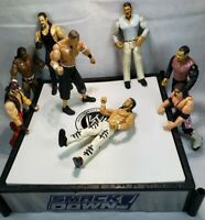 WWE Wrestling Action Figures Lot Of 8 w/ Spring Loaded Ring Vintage Jakks/ToyBiz