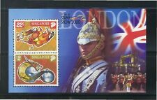 SINGAPORE 2000 LONDON THE STAMP SHOW SOUVENIR SHEET 2 STAMPS ZODIAC DRAGON MINT