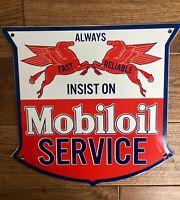MOBILOIL SERVICE PORCELAIN ENAMEL GAS PUMP ADVERTISING SIGN