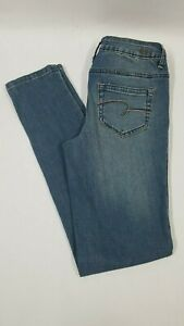 Girl's JUSTICE Mid Rise Super Skinny Jeans Tapered Embellished Sz 14 Slim NEW
