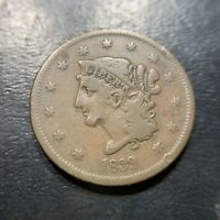 1839 Booby Head Large Cent F Fine Matron Coronet EAC Middle Date 1c
