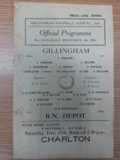 Gillingham Football Non-League Fixture Programmes (Pre-1950)