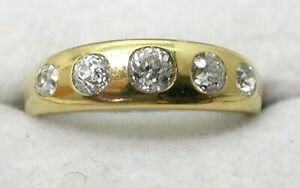 Beautiful Antique 18 Carat Gold 0.90 Carat Five Stone Diamond Ring Size Q