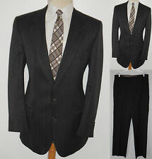 42L Mens 2 Piece MOD Charcoal FORTE Pinstripe Business Wool Gangster Winner Suit