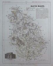 Carte du Département HAUTE MARNE gravée sur acier par Alés Petit Atlas National