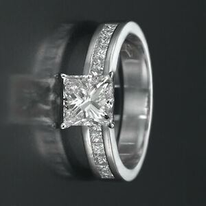 1.7 CARAT PRINCESS & ACCENTS DIAMOND RING D SI1 14K WHITE GOLD CHANNEL SET PRONG