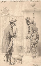 Vienne Regency Couple with Dog Antique French Christmas Postcard