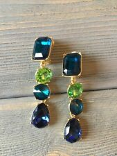 Oscar De La Renta  Green Crystal  , style Earrings