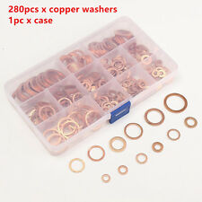 Assorted 12Sizes 280 Pcs Solid Copper Washers Flat Ring Sump Plug Oil Seal Case