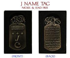 """J"" Intial Necklace Tag - Birthday Wedding Ayatul Kursi Eid Identity Name Gift"