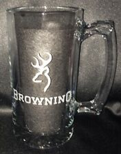 BROWNING ETCHED GLASS BEER MUG 26.5 oz. FREE SHIPPING
