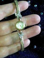 14K BULOVA Watch-YELLOW GOLD Case & Diamonds-10K GF Speidel Flex Band-STERL SET
