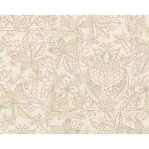 Belgravia Owl Pattern Floral Leaf Bird Motif Cream Designer Wallpaper 9714-B