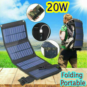 Solar Panel Folding PowerBank Outdoor Camping USB Battery Charger Waterproof 20W