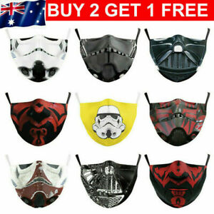 Mouth Face Mask Washable Adult Reusable 2 FREE FILTERS Stormtrooper Darth Vader