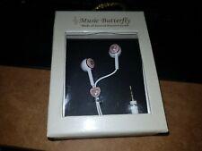 Music Butterfly AUSTRIAN CRYSTAL EARPHONES PINK Heart PHONE MP3 PLAYER