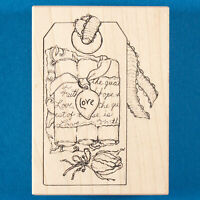 Love Gift Tag Rubber Stamp by Stampa Rosa G 67-169 - Valentine's Day Rose Bud