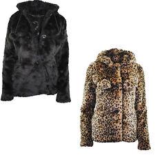 Womens Winter Leopard Print Faux Fur Coat Jacket Pom Pom Hooded Ladies Jacket