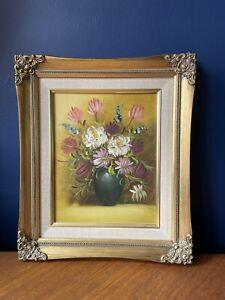 CHARMING Old Vintage Floral Oil Painting On Canvas FLORAL FLOWERS Gold Framed