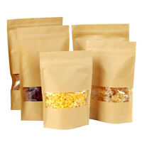 20pcs Kraft Paper Stand Up Bag Seal Packaging Window Sealable Food Storage Pouch