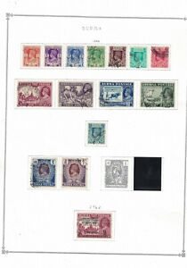 burma stamps -1938 album page -definitives- George vi - good used to 2R