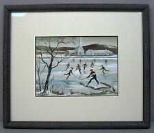 "C. LIND__'Hockey Game'__7""x5.25"" Watercolor/Gouache__Signed__ExC__SHIPS FREE"