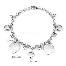 Stainless Steel Jewelry Womens Girls Charm Chain Bracelet Cuff Bangle Gift Heart