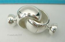 1x  BRIGHT STERLING SILVER BEADING CORD END CAP CONNECTOR CLASP #2527