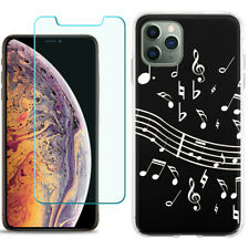 TPU Case for Apple iPhone 11 Pro + Tempered Glass - Music Notes / Black