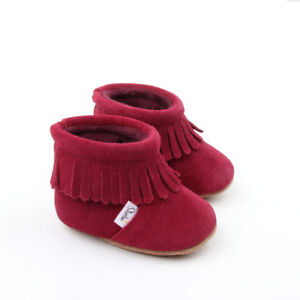 Baby Boots Fur boots baby booties moccasins toddler infant boots burgundy red
