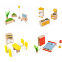 Dolls House Furniture Wooden Tooky Toys Set People Dolls For Kids Children Gift