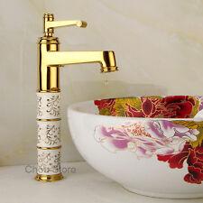 Porcelain Bathroom Wash Basin Faucet Gold Single Lever Vessel Sink Mixer Tap NEW