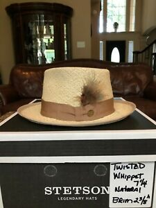 """STETSON  TWISTED """"WHIPPET"""" PANAMA STRAW NATURAL 7 1/4 CLASSIC!"""