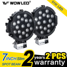 WOWLED 2X 51W 7inch Round LED Work Light Bar Spot Driving Lamp Car Offroad SUV