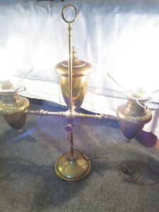 Vintage Double 2 Arm Student Oil Lamp Electric Converted Brass Large