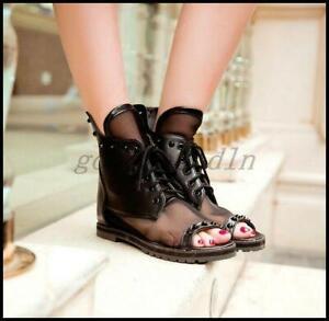 Summer Womens Rivet Mesh Open Toe Ankle Boots Back Zip Roman Sandal Shoes
