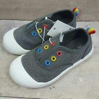 NEW Cat & Jack Toddlers Girls Size 9, 12 Charcoal Rainbow Slip On Sneakers